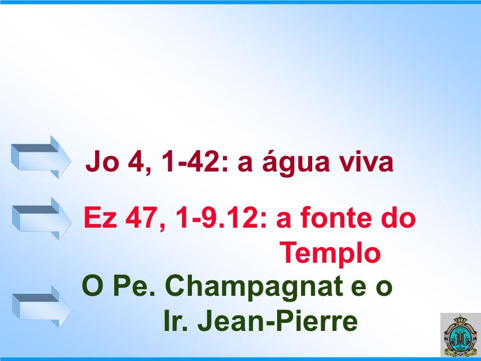 Jo 4, 1-42: a água viva Ez 47, 1-9.12: a fonte do Templo O Pe. Champagnat e o Ir. Jean-Pierre