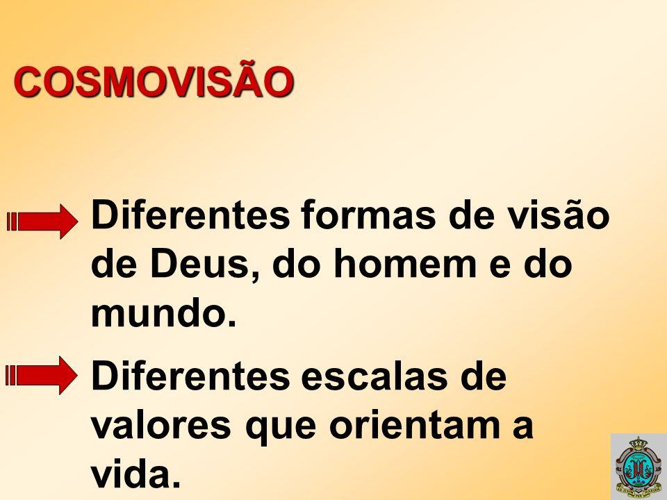 COSMOVISÃO Diferentes formas de visão. de Deus, do homem e do. mundo. Diferentes escalas de. valores que orientam a.