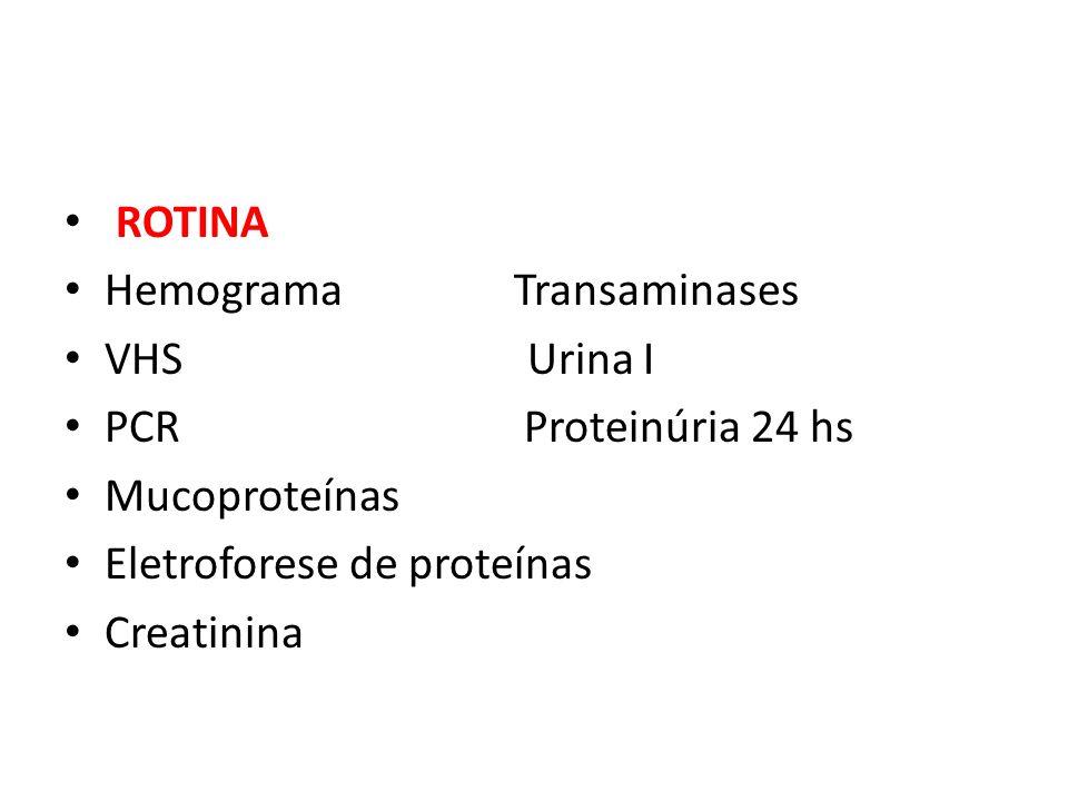 ROTINA Hemograma Transaminases. VHS Urina I. PCR Proteinúria 24 hs.