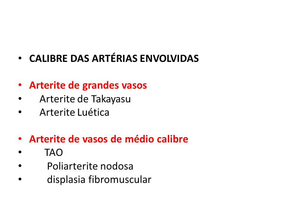 CALIBRE DAS ARTÉRIAS ENVOLVIDAS