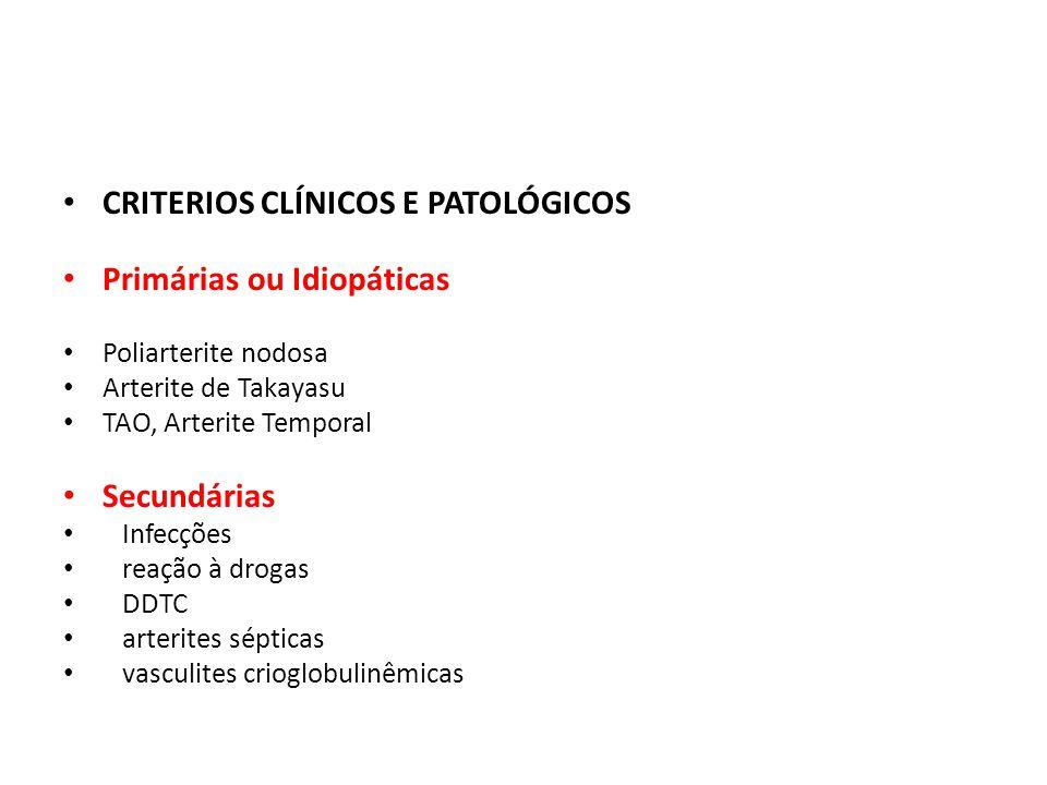 CRITERIOS CLÍNICOS E PATOLÓGICOS Primárias ou Idiopáticas