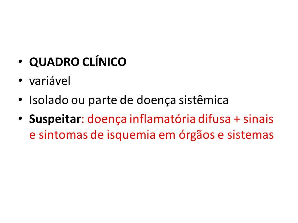 QUADRO CLÍNICO variável. Isolado ou parte de doença sistêmica.