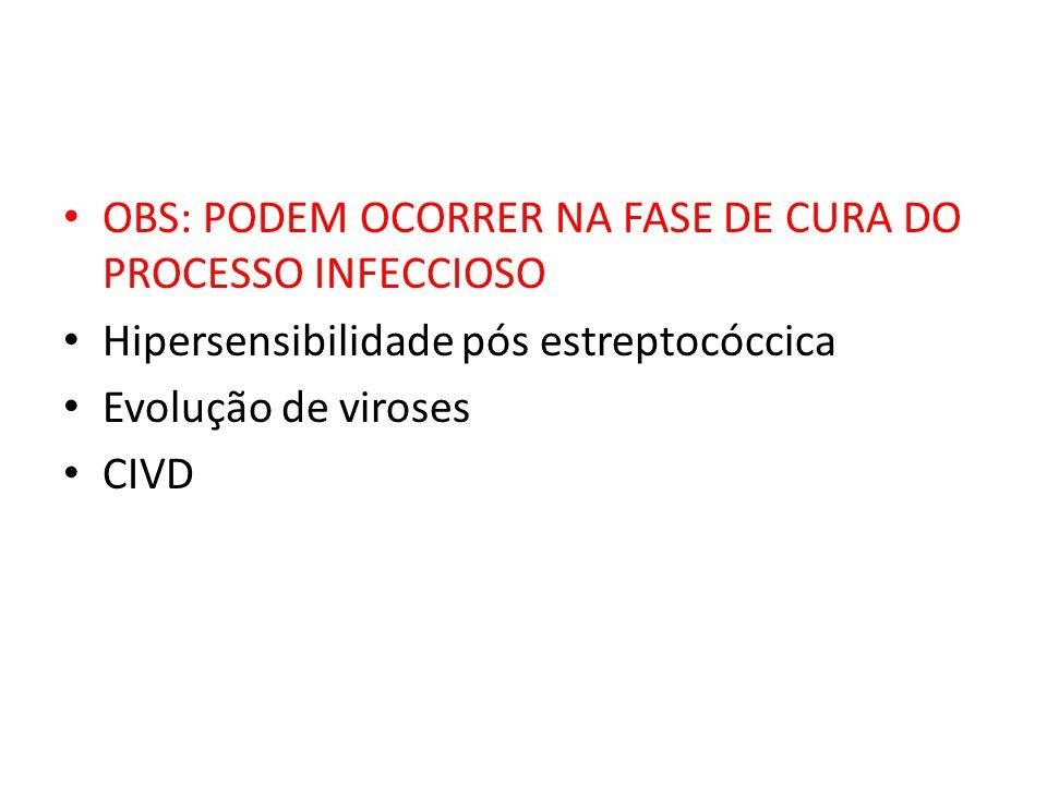 OBS: PODEM OCORRER NA FASE DE CURA DO PROCESSO INFECCIOSO