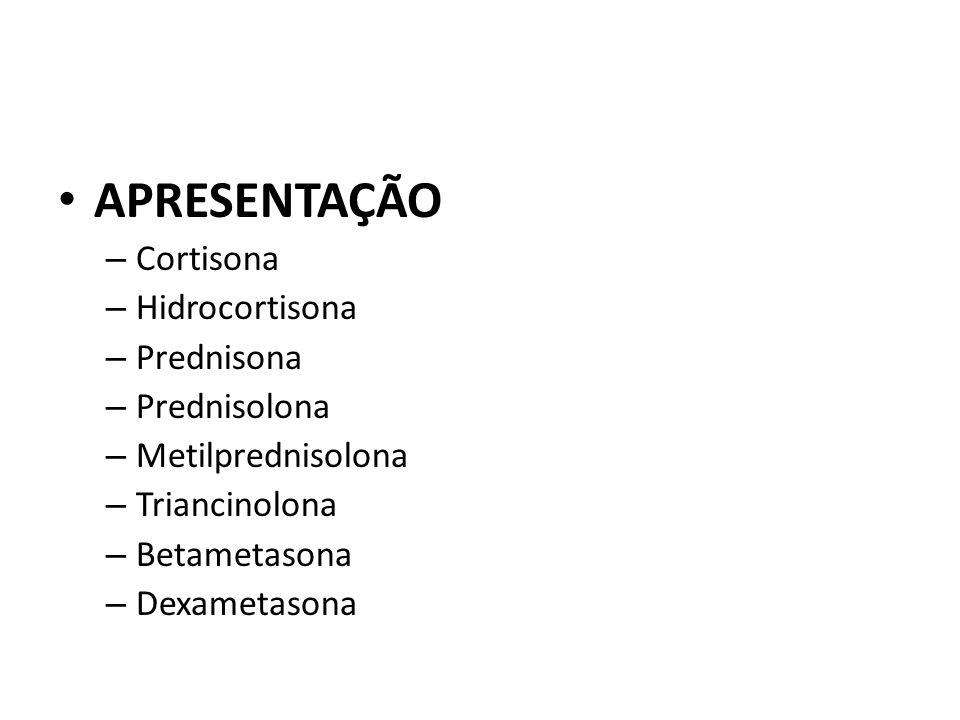 APRESENTAÇÃO Cortisona Hidrocortisona Prednisona Prednisolona