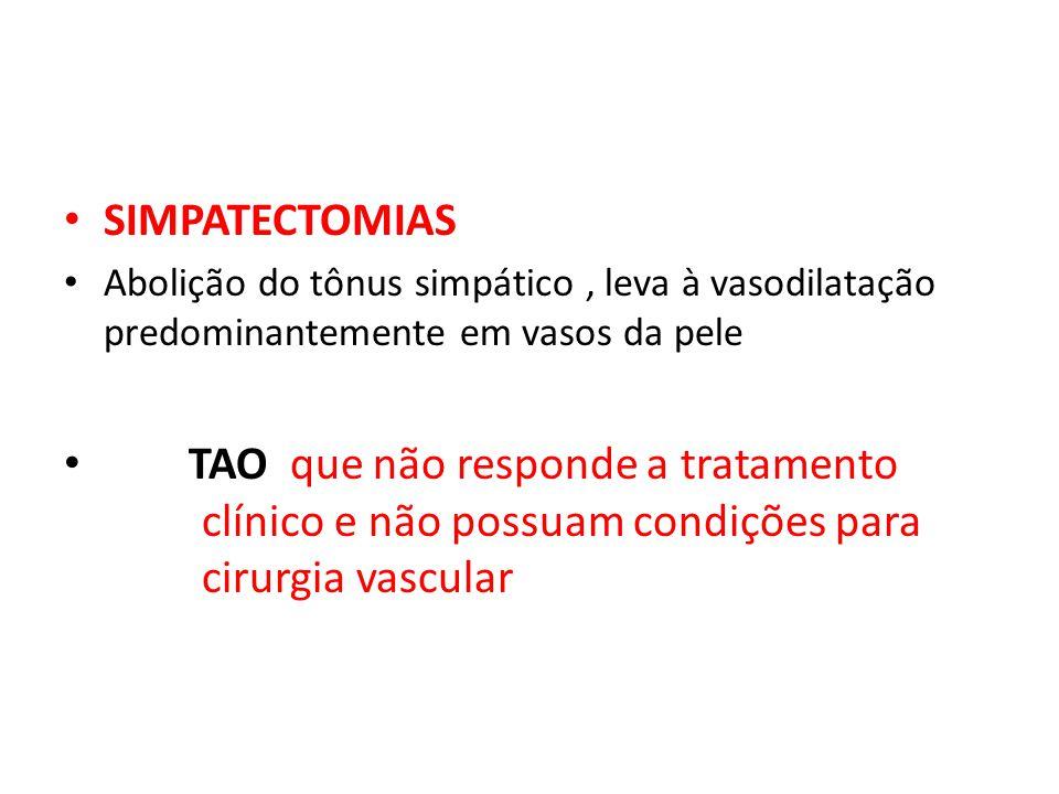 SIMPATECTOMIAS Abolição do tônus simpático , leva à vasodilatação predominantemente em vasos da pele.