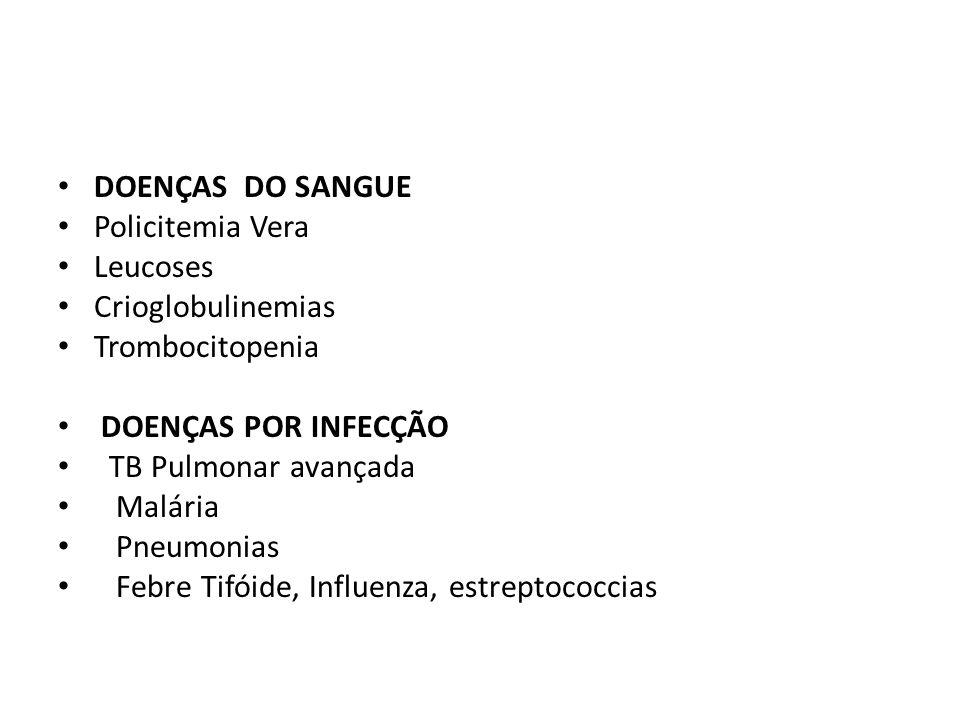 DOENÇAS DO SANGUE Policitemia Vera. Leucoses. Crioglobulinemias. Trombocitopenia. DOENÇAS POR INFECÇÃO.