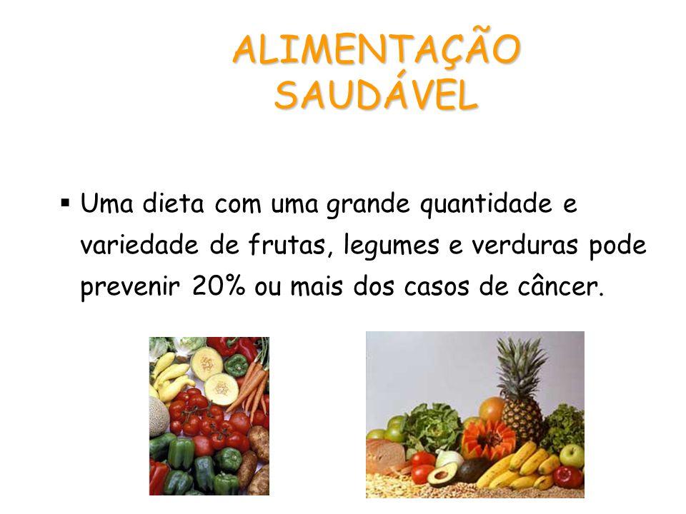 ALIMENTAÇÃO SAUDÁVEL Uma dieta com uma grande quantidade e variedade de frutas, legumes e verduras pode prevenir 20% ou mais dos casos de câncer.