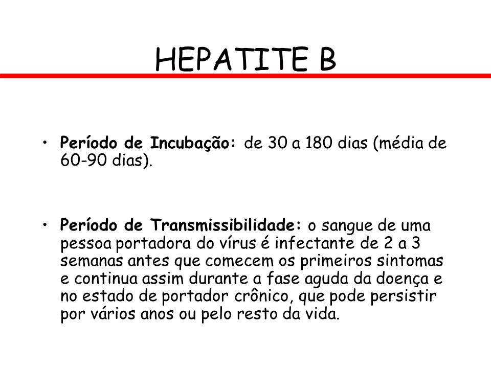 HEPATITE B Período de Incubação: de 30 a 180 dias (média de 60-90 dias).