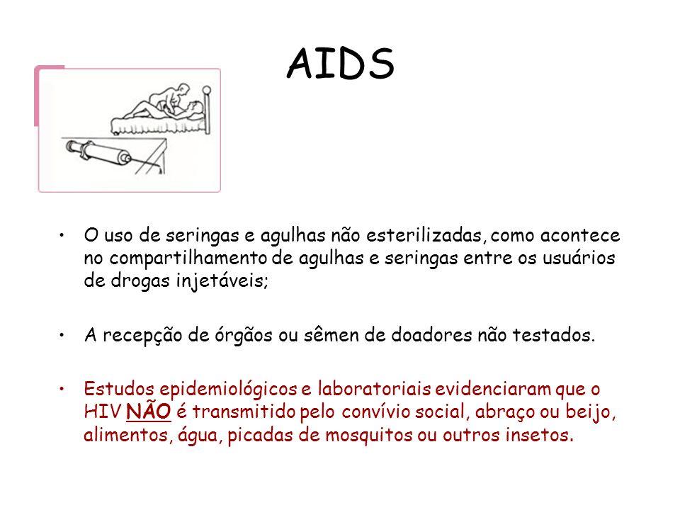 AIDS O uso de seringas e agulhas não esterilizadas, como acontece no compartilhamento de agulhas e seringas entre os usuários de drogas injetáveis;
