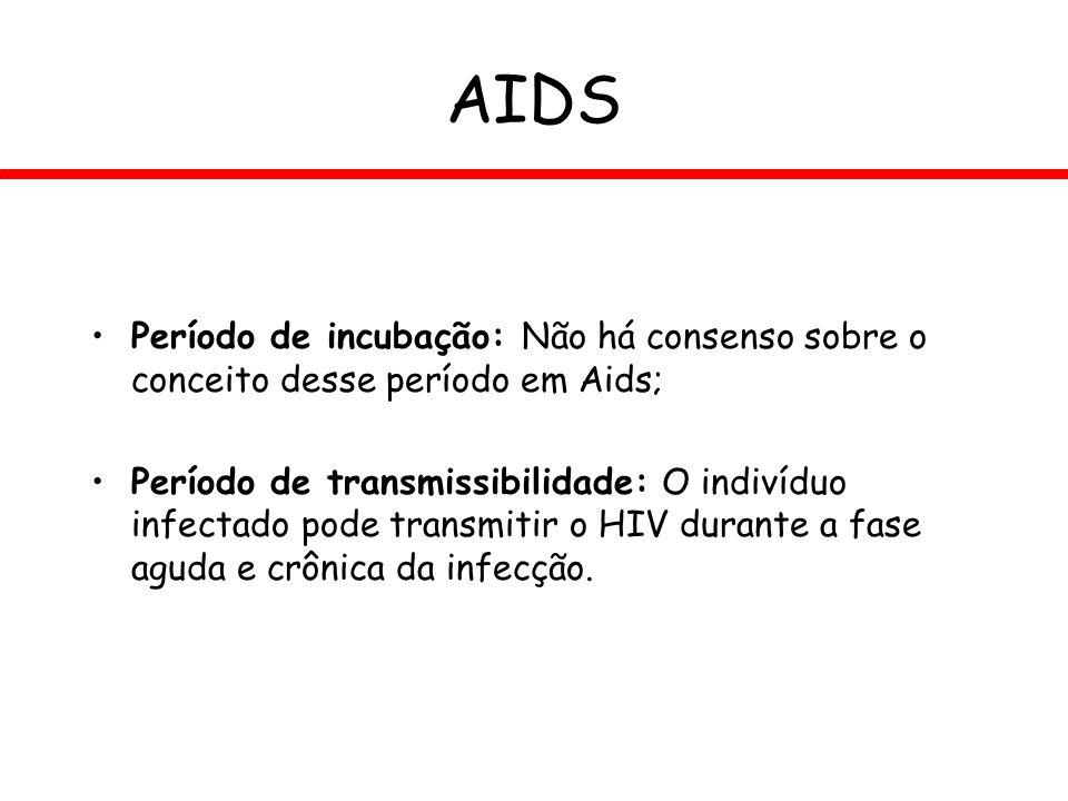AIDS Período de incubação: Não há consenso sobre o conceito desse período em Aids;