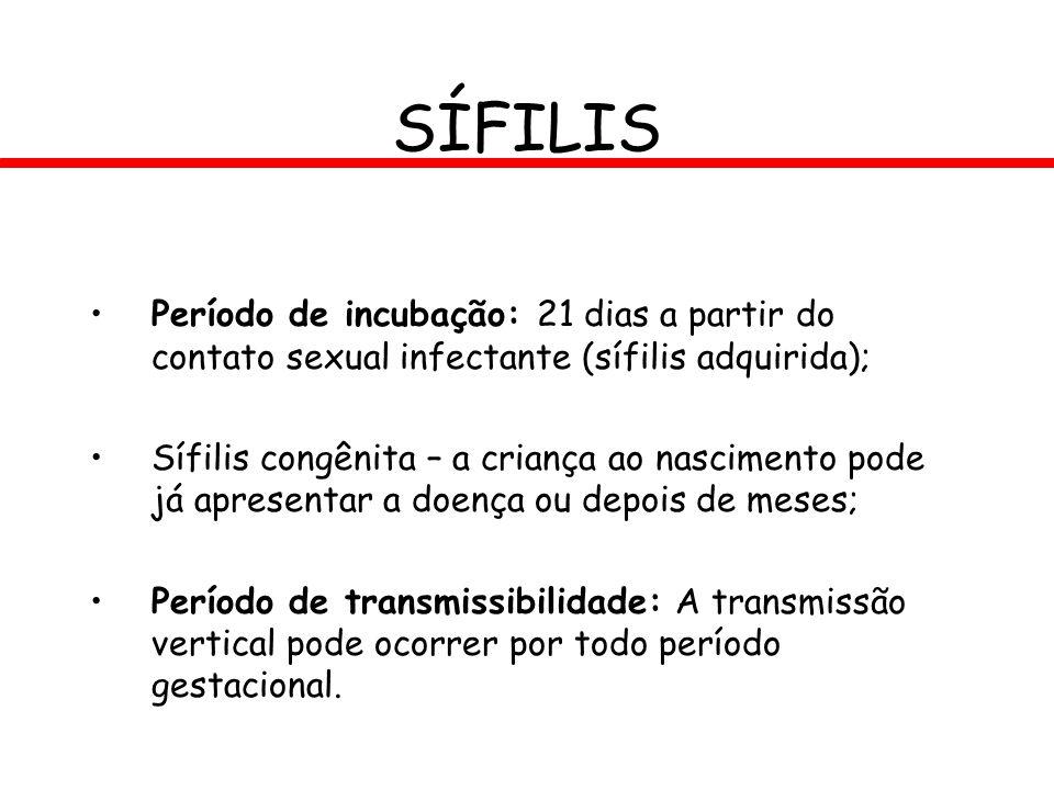 SÍFILIS Período de incubação: 21 dias a partir do contato sexual infectante (sífilis adquirida);
