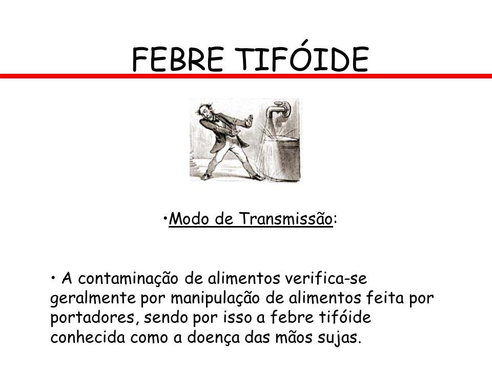 FEBRE TIFÓIDE Modo de Transmissão: