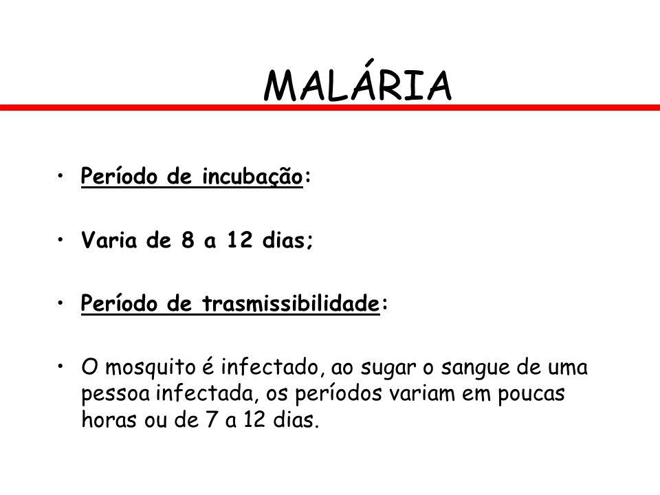MALÁRIA Período de incubação: Varia de 8 a 12 dias;
