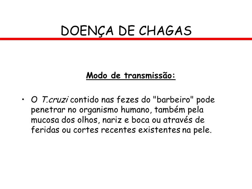 DOENÇA DE CHAGAS Modo de transmissão: