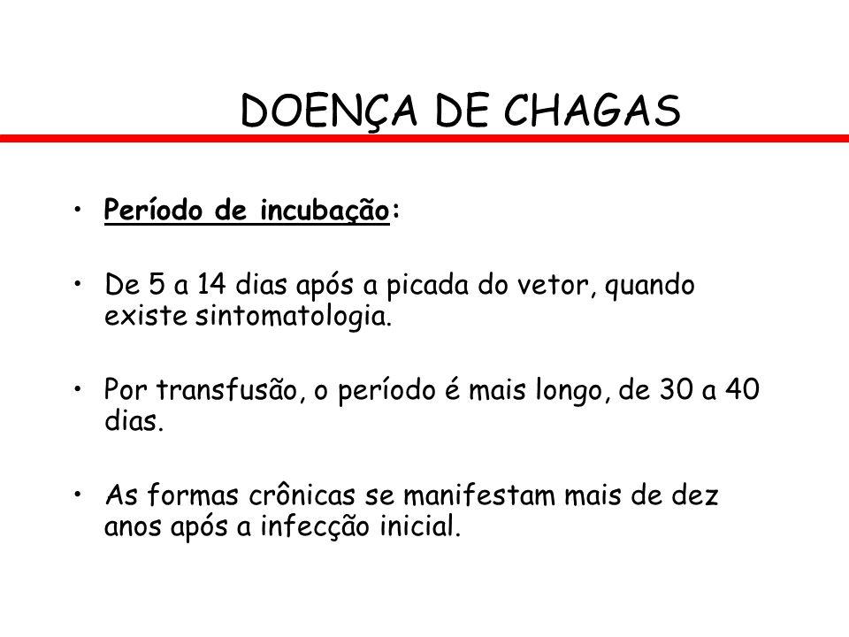 DOENÇA DE CHAGAS Período de incubação: