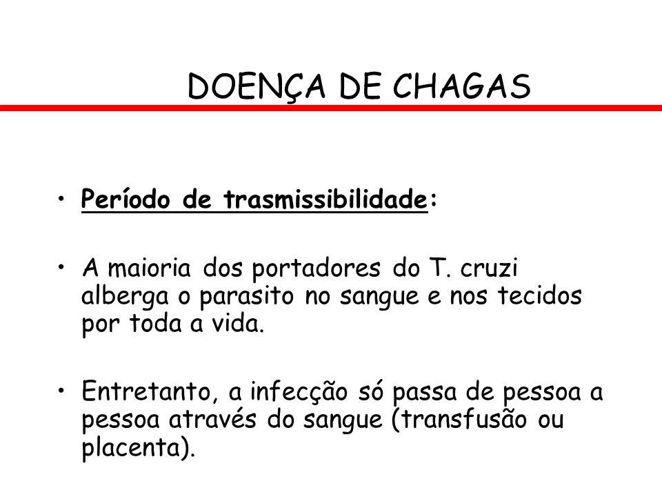 DOENÇA DE CHAGAS Período de trasmissibilidade: