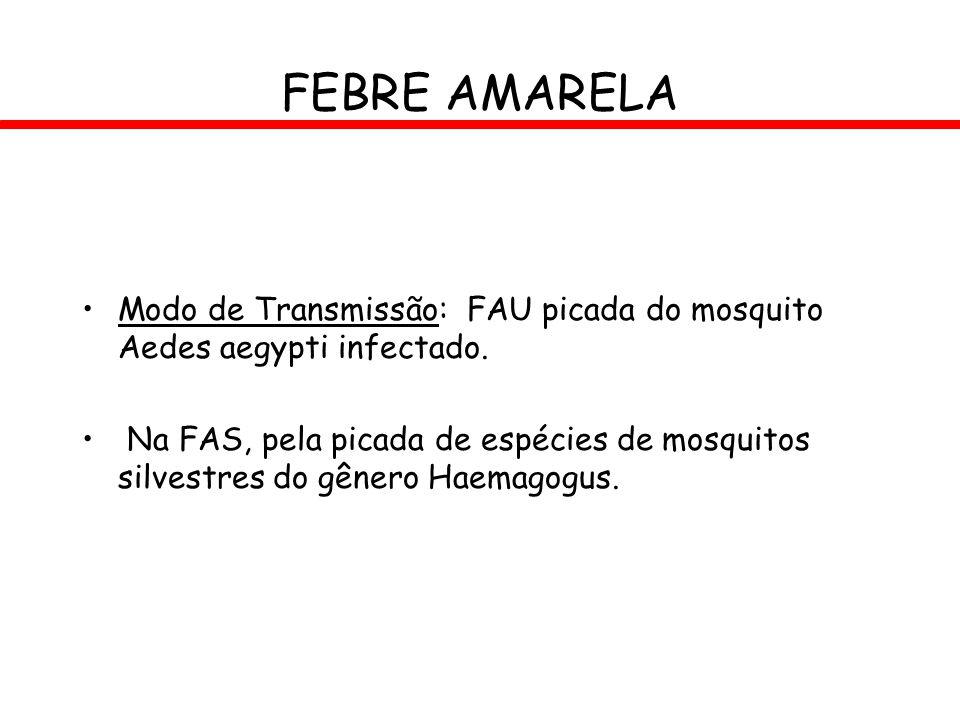 FEBRE AMARELA Modo de Transmissão: FAU picada do mosquito Aedes aegypti infectado.