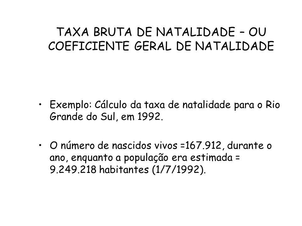 TAXA BRUTA DE NATALIDADE – OU COEFICIENTE GERAL DE NATALIDADE