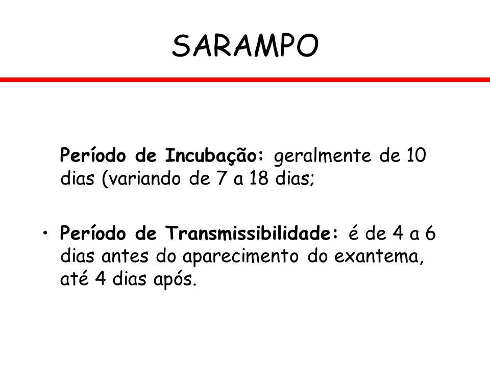 SARAMPO Período de Incubação: geralmente de 10 dias (variando de 7 a 18 dias;