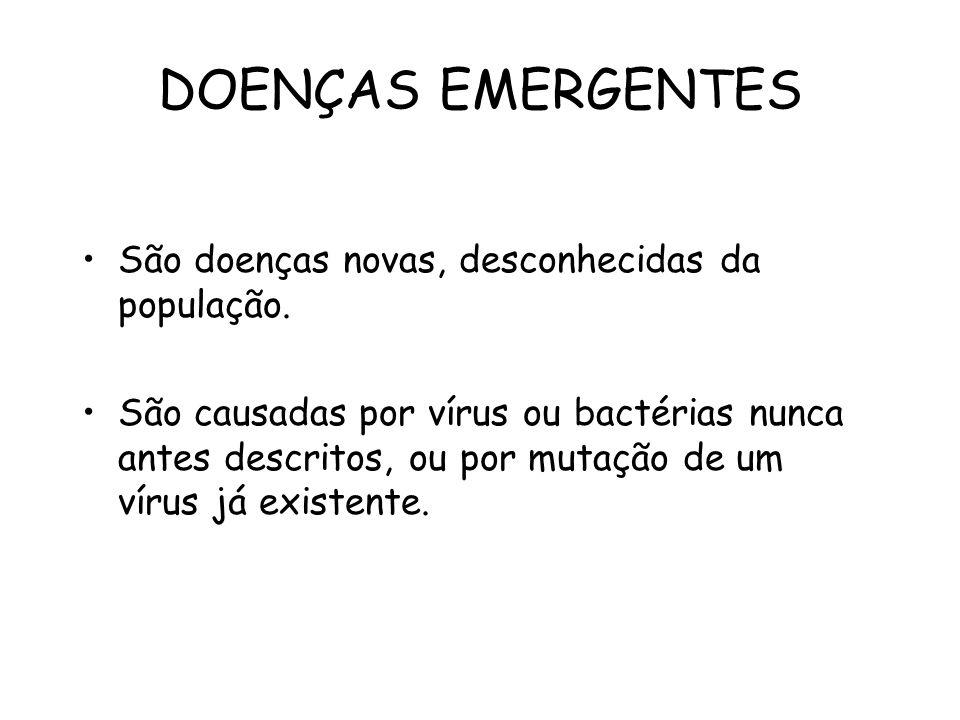 DOENÇAS EMERGENTES São doenças novas, desconhecidas da população.