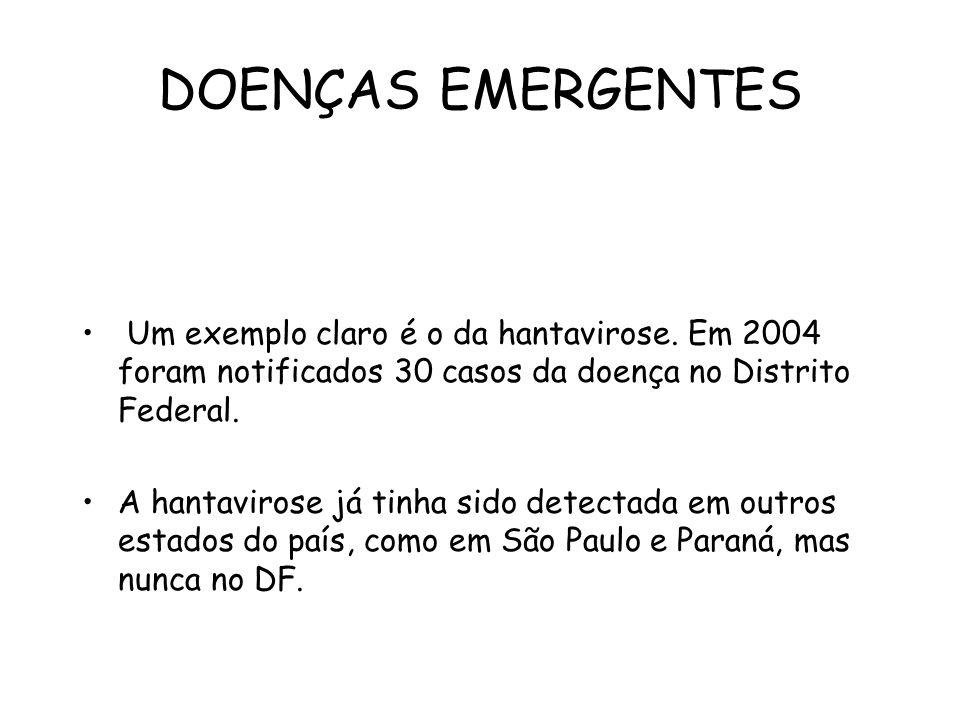 DOENÇAS EMERGENTES Um exemplo claro é o da hantavirose. Em 2004 foram notificados 30 casos da doença no Distrito Federal.