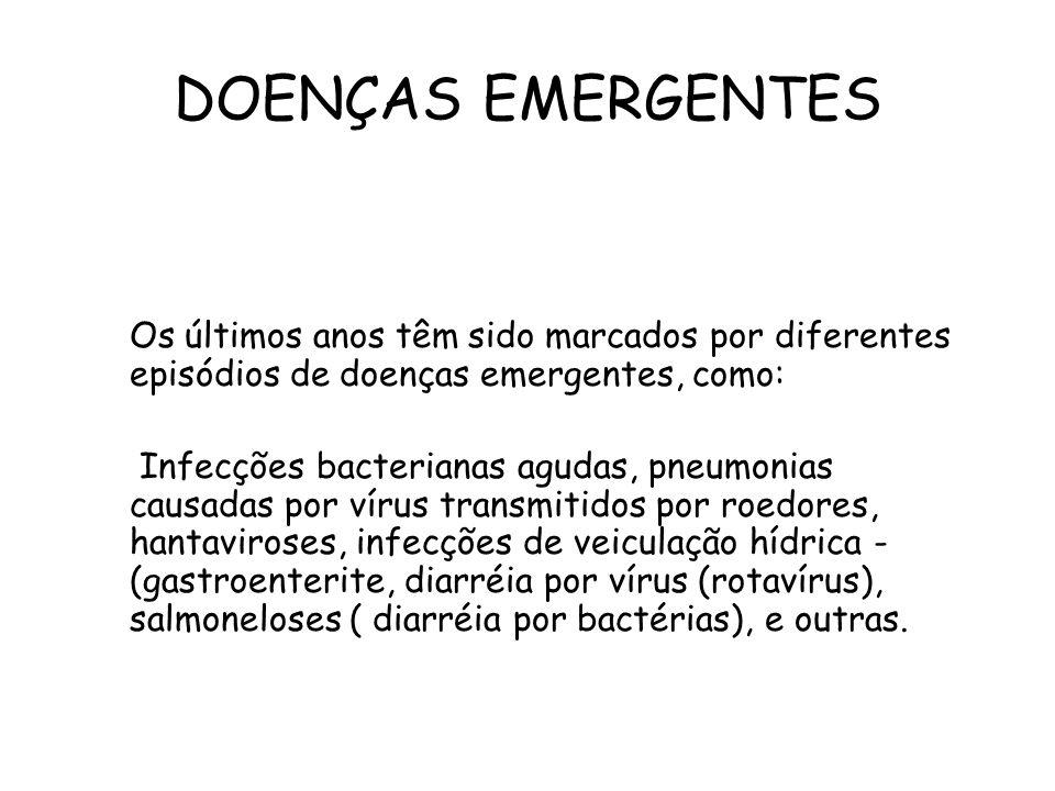 DOENÇAS EMERGENTES Os últimos anos têm sido marcados por diferentes episódios de doenças emergentes, como: