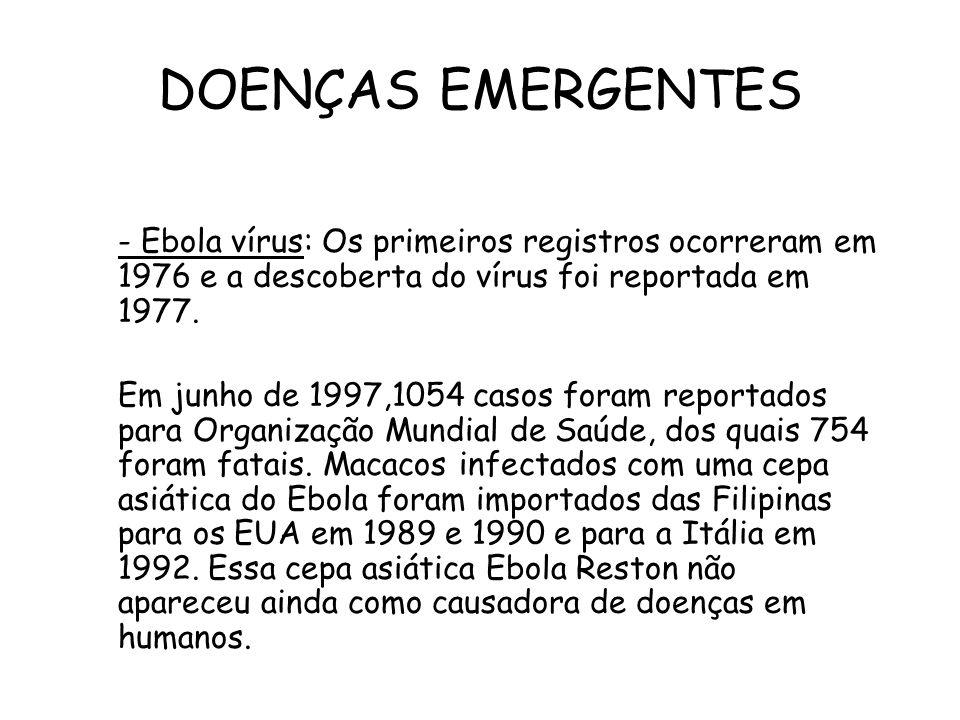 DOENÇAS EMERGENTES - Ebola vírus: Os primeiros registros ocorreram em 1976 e a descoberta do vírus foi reportada em 1977.