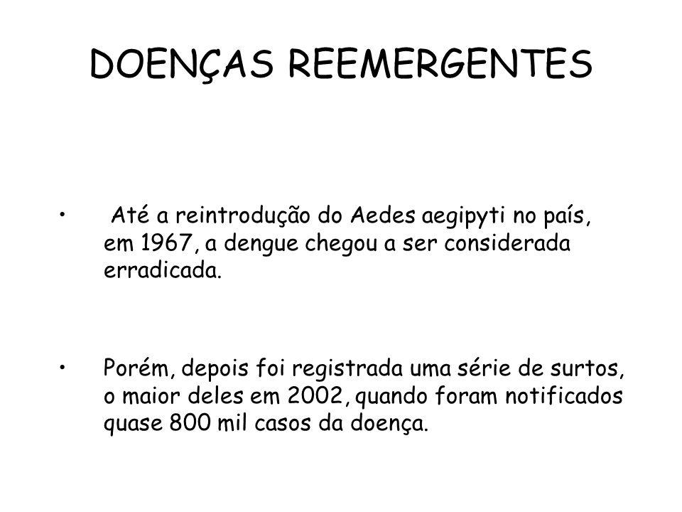 DOENÇAS REEMERGENTES Até a reintrodução do Aedes aegipyti no país, em 1967, a dengue chegou a ser considerada erradicada.
