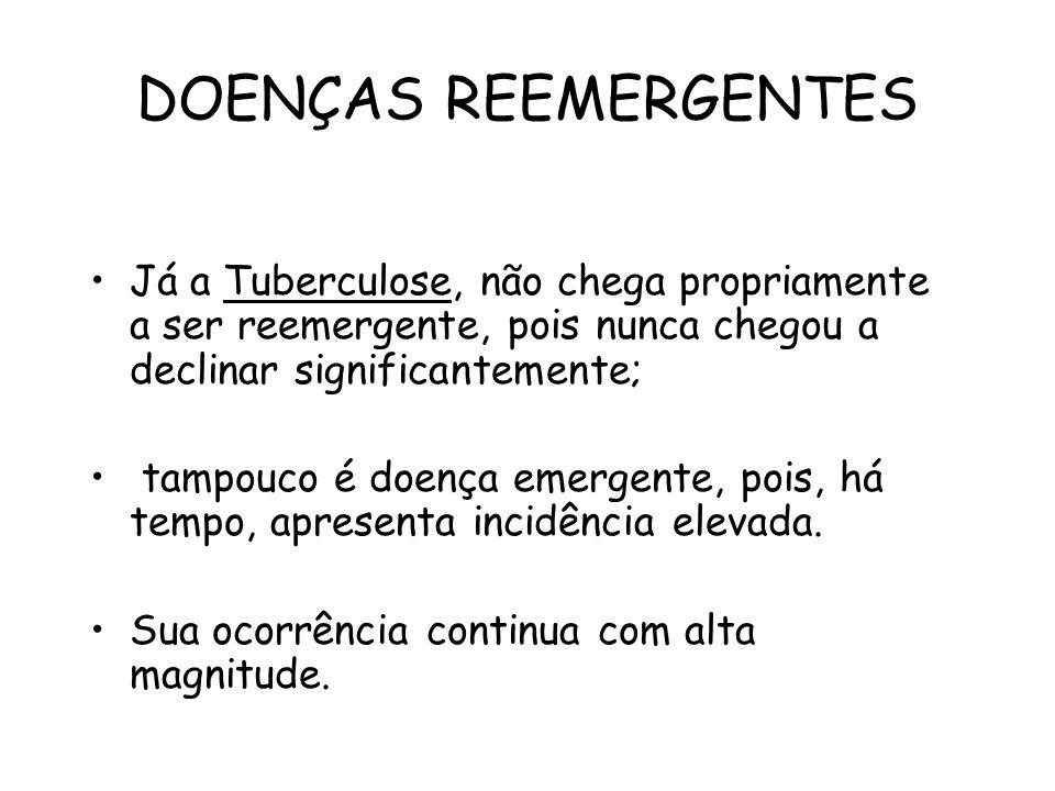 DOENÇAS REEMERGENTES Já a Tuberculose, não chega propriamente a ser reemergente, pois nunca chegou a declinar significantemente;