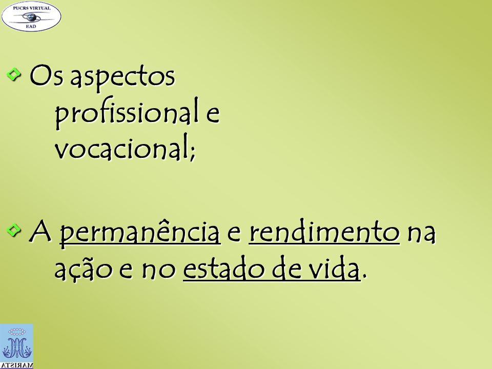 • Os aspectos profissional e vocacional;
