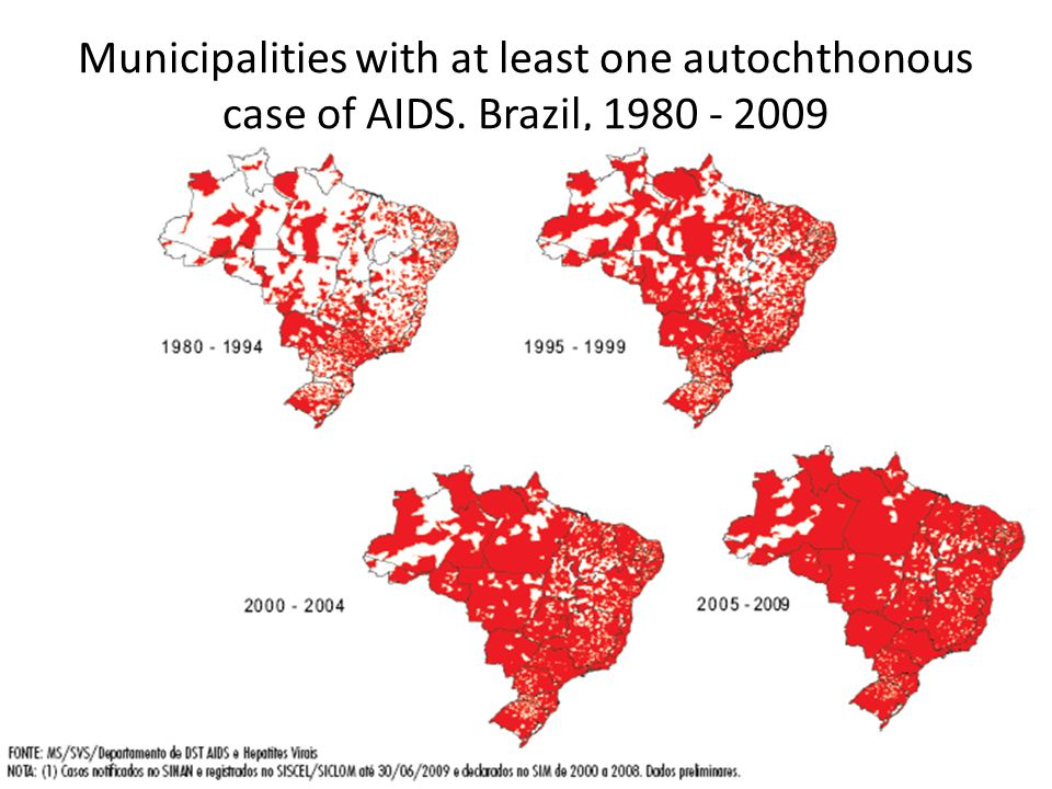 Municipalities with at least one autochthonous case of AIDS