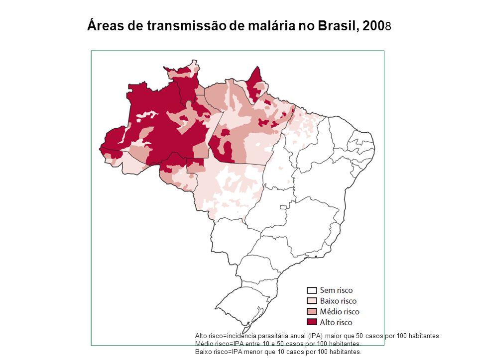 Áreas de transmissão de malária no Brasil, 2008