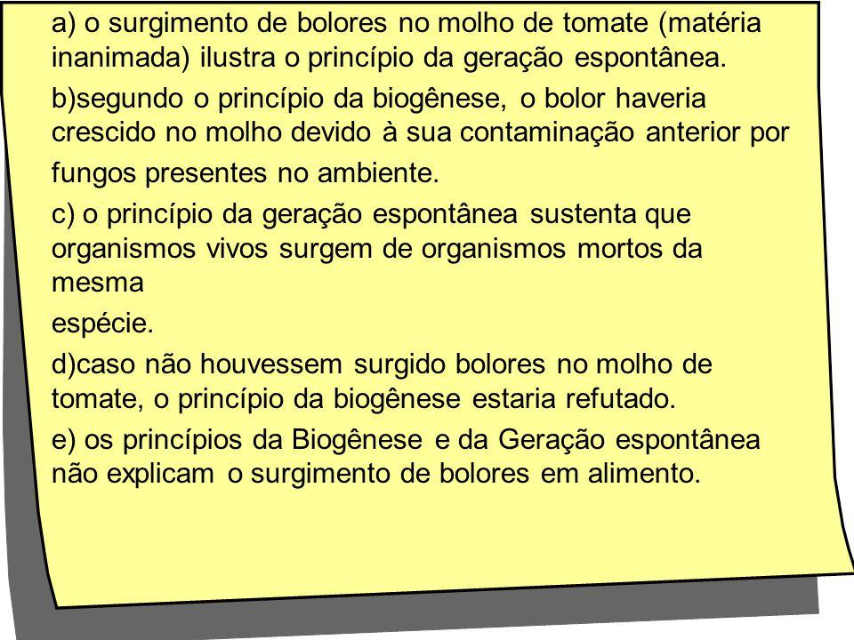 a) o surgimento de bolores no molho de tomate (matéria inanimada) ilustra o princípio da geração espontânea.