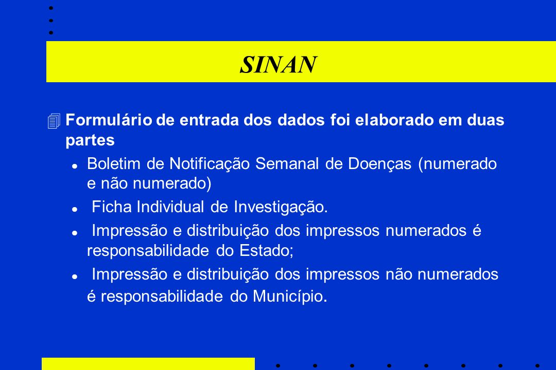 SINAN Formulário de entrada dos dados foi elaborado em duas partes