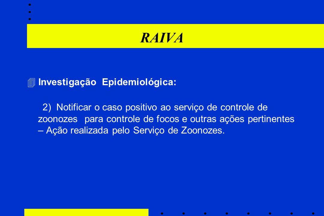 RAIVA  Investigação Epidemiológica: