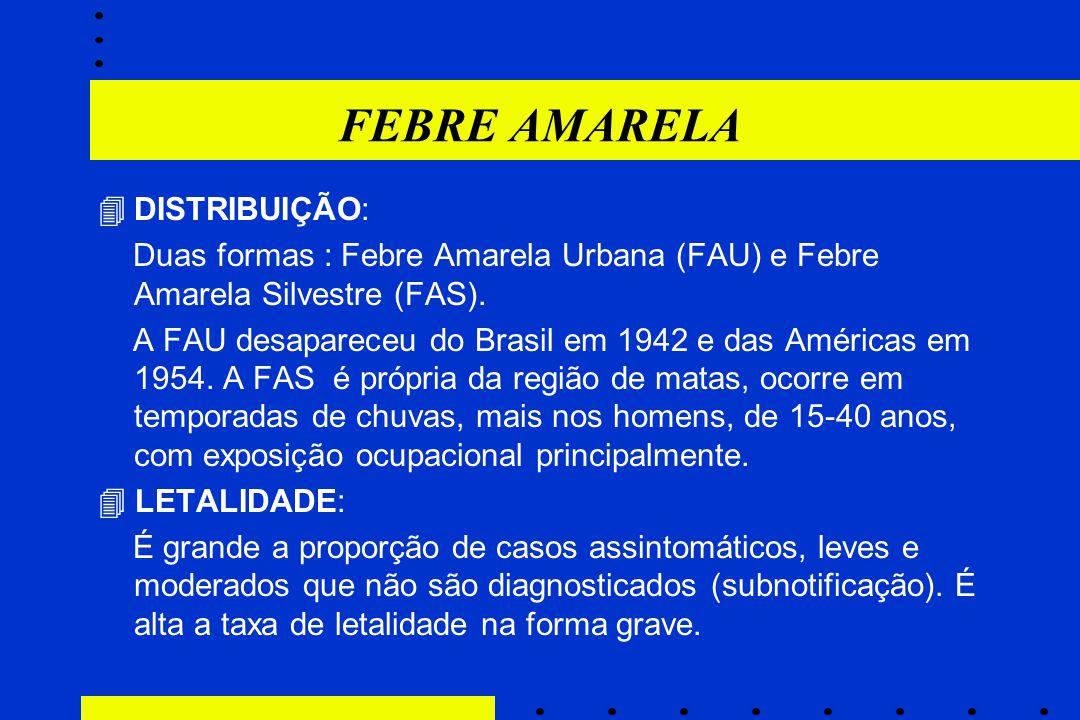 FEBRE AMARELA  DISTRIBUIÇÃO: