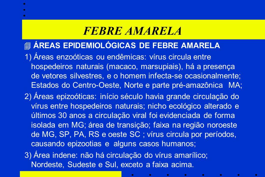 FEBRE AMARELA  ÁREAS EPIDEMIOLÓGICAS DE FEBRE AMARELA.