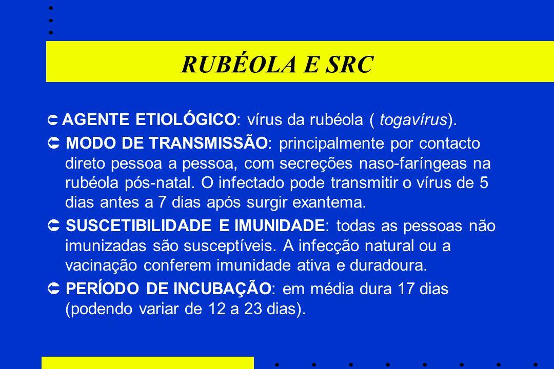 RUBÉOLA E SRC  AGENTE ETIOLÓGICO: vírus da rubéola ( togavírus).