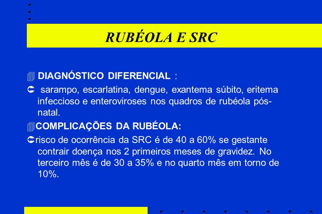 RUBÉOLA E SRC  DIAGNÓSTICO DIFERENCIAL :