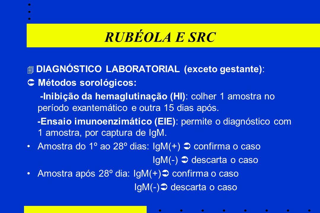 RUBÉOLA E SRC  Métodos sorológicos: