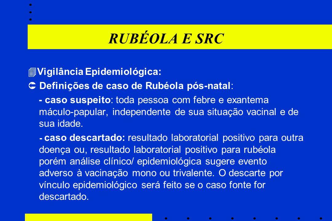 RUBÉOLA E SRC Vigilância Epidemiológica: