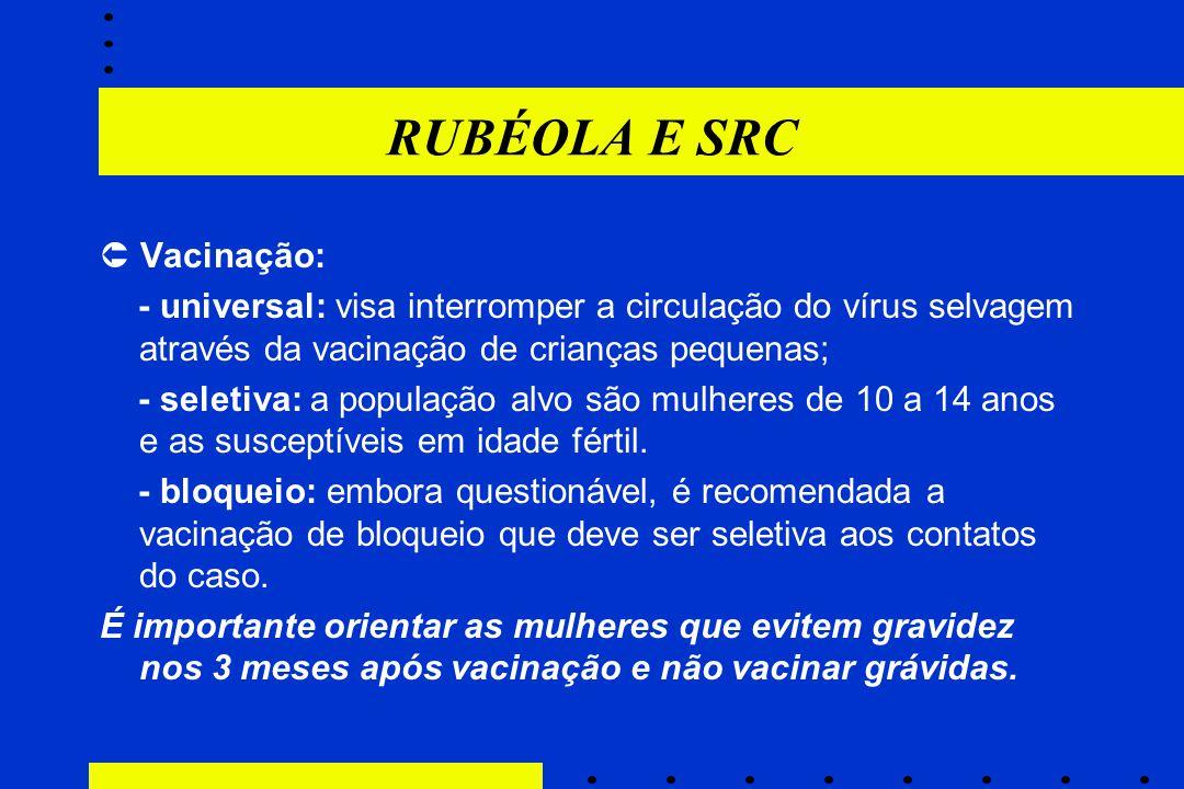 RUBÉOLA E SRC  Vacinação: