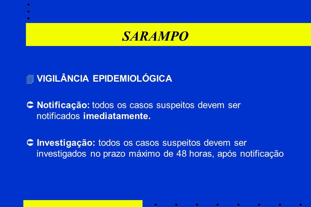 SARAMPO  VIGILÂNCIA EPIDEMIOLÓGICA