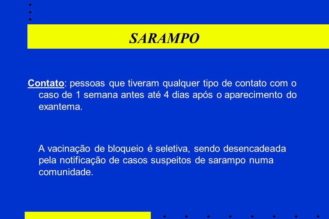 SARAMPO Contato: pessoas que tiveram qualquer tipo de contato com o caso de 1 semana antes até 4 dias após o aparecimento do exantema.