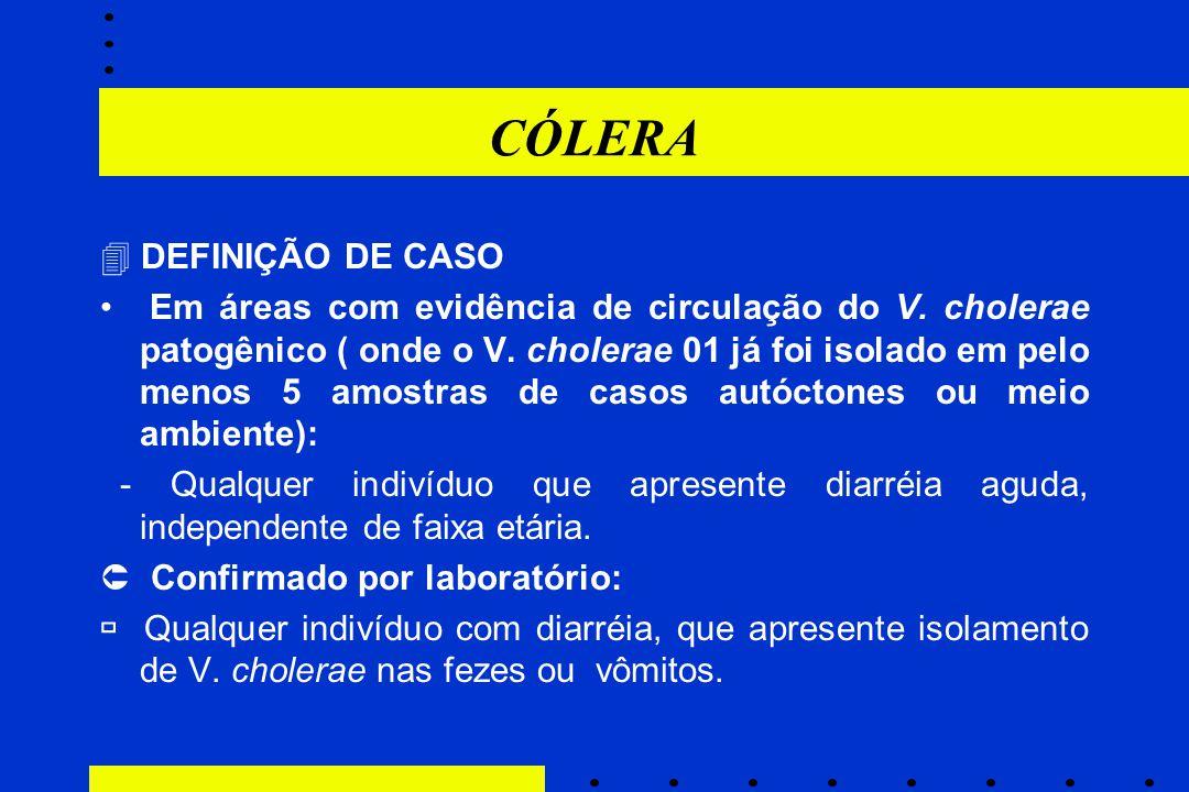 CÓLERA  DEFINIÇÃO DE CASO