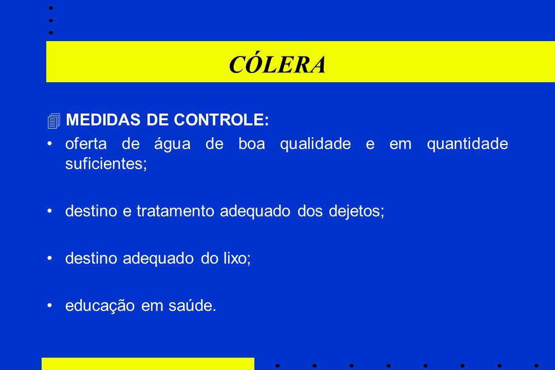 CÓLERA  MEDIDAS DE CONTROLE: