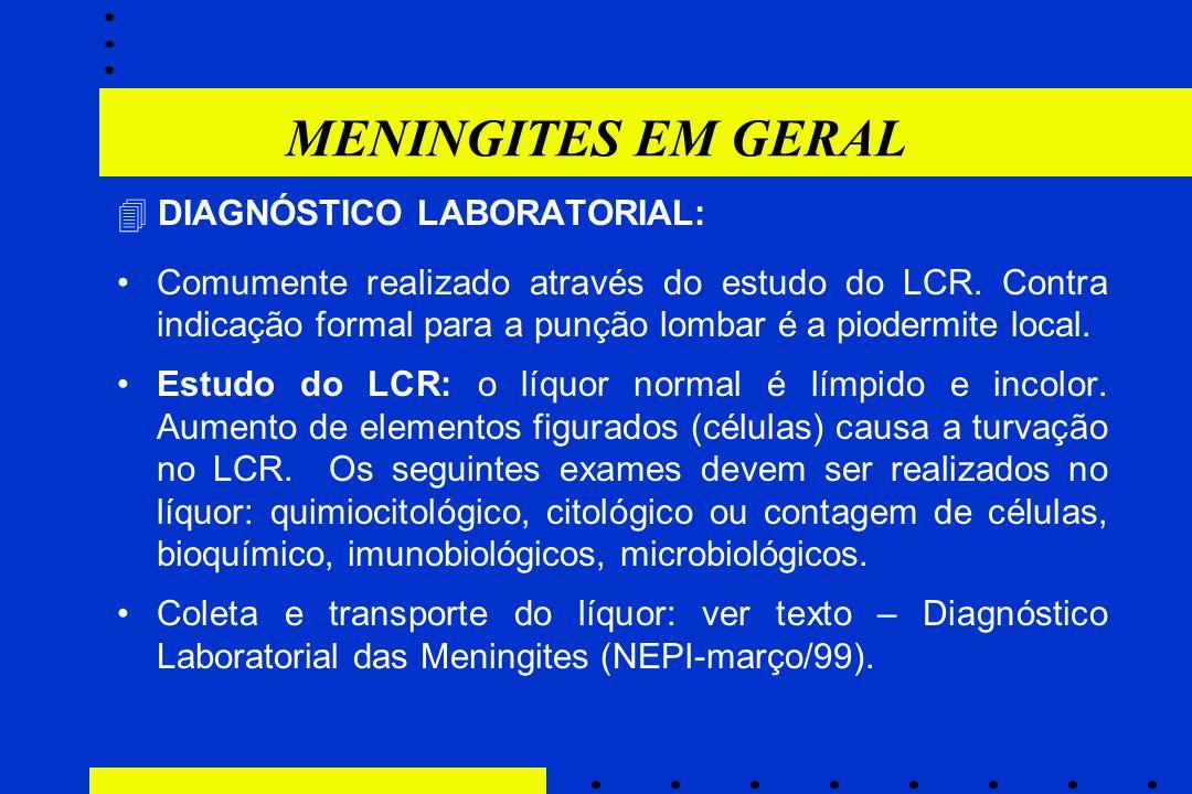 MENINGITES EM GERAL  DIAGNÓSTICO LABORATORIAL: