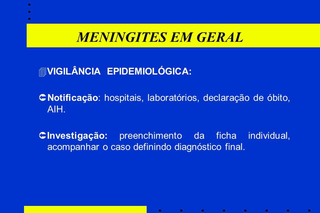 MENINGITES EM GERAL VIGILÂNCIA EPIDEMIOLÓGICA: