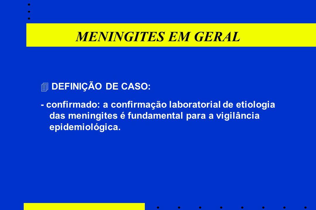 MENINGITES EM GERAL  DEFINIÇÃO DE CASO: