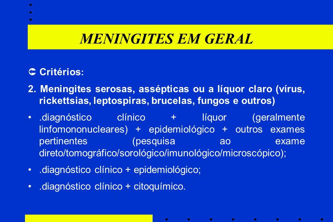 MENINGITES EM GERAL  Critérios: